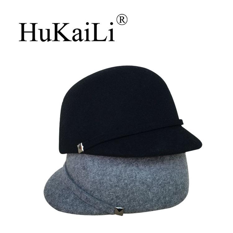 Woolen knight cap hosemanship women's short brim cap summer baseball cap fedoras bf hat