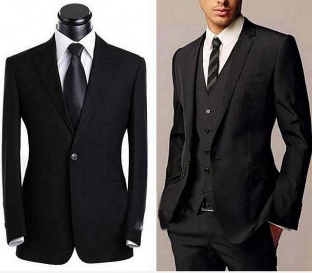 Mens Suits Black Groom Tuxedos Office Suit Fit Slim Formal Party Best Man Evening Men