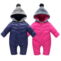 2016 Winter Baby Thick Warm Rompers Pink Coverall Hooded Romper Jumpsuit Baby Girl Boy Snowsuit Coat