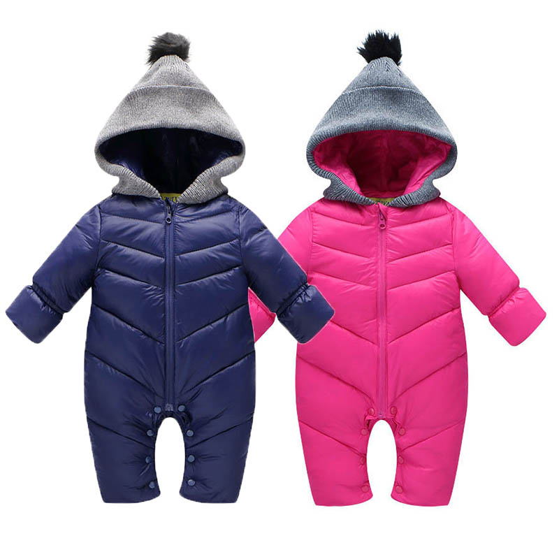 2017 Spring Baby Thick Warm Rompers Pink Coverall Hooded Romper Jumpsuit Baby Girl Boy Snowsuit Coat Children Outfits Baby Wear baby pink v neck tassel detailed jumpsuit