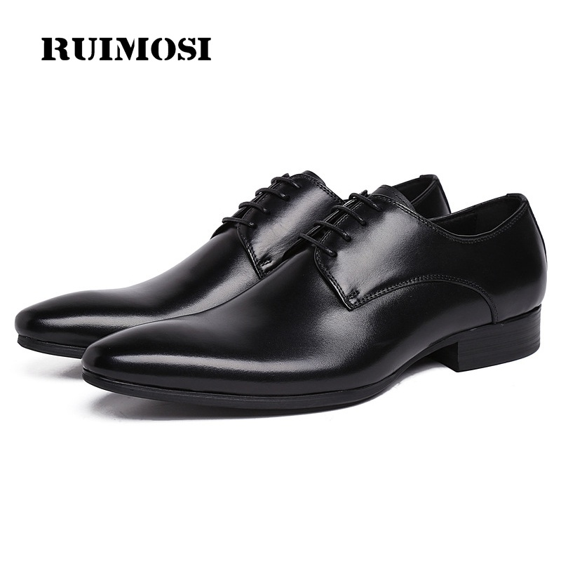 RUIMOSI Classic Man Bridal Dress Shoes Genuine Leather Handmade Wedding Oxfords High Quality Pointed Toe Derby Men's Flats BH67