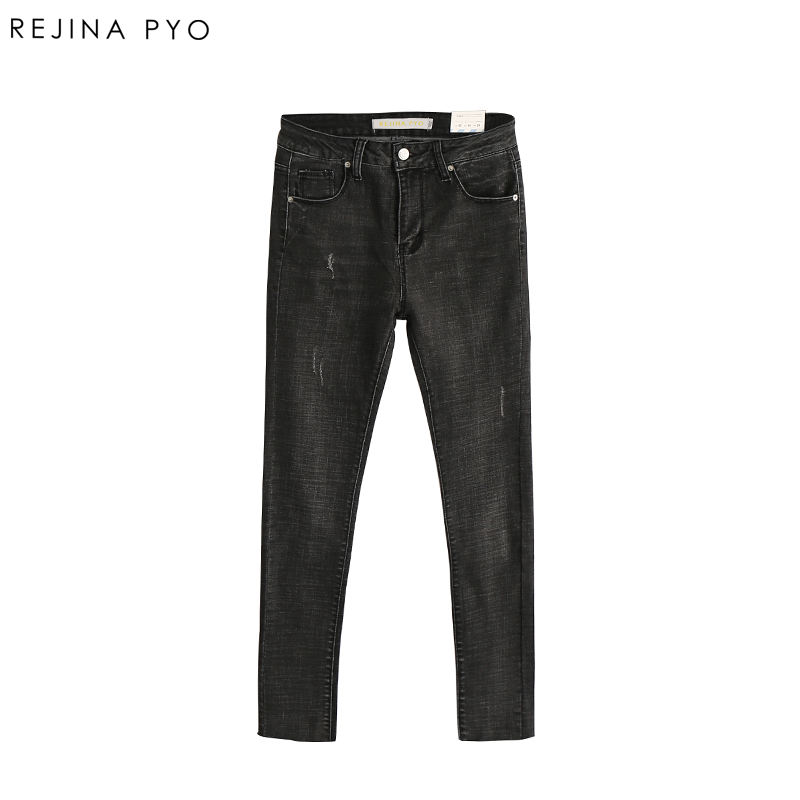 REJINAPYO Women Casual Skinny Denim Pencil Jeans Female High Waist Stretching Skinny Jeans Ladies Scratched Washed Ripped Jeans