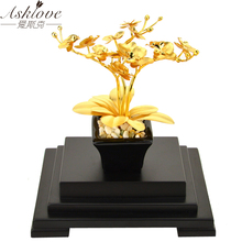 24K Gold Foil Butterfly Orchid Feng shui Bonsai Artificial Flower Plant Ornament luxury gifts for wedding Home Decor celebration