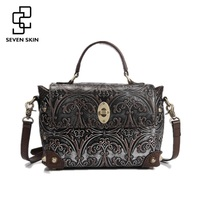 100 Genuine Leather Women Luxury Brand Shoulder Bag Female Vintage Embossed Flower Handbag Ladies Casual Bags