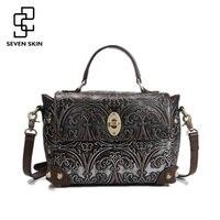 100 Genuine Leather Women Luxury Brand Shoulder Bag Female Vintage Embossed Flower Handbag Ladies Casual Bags