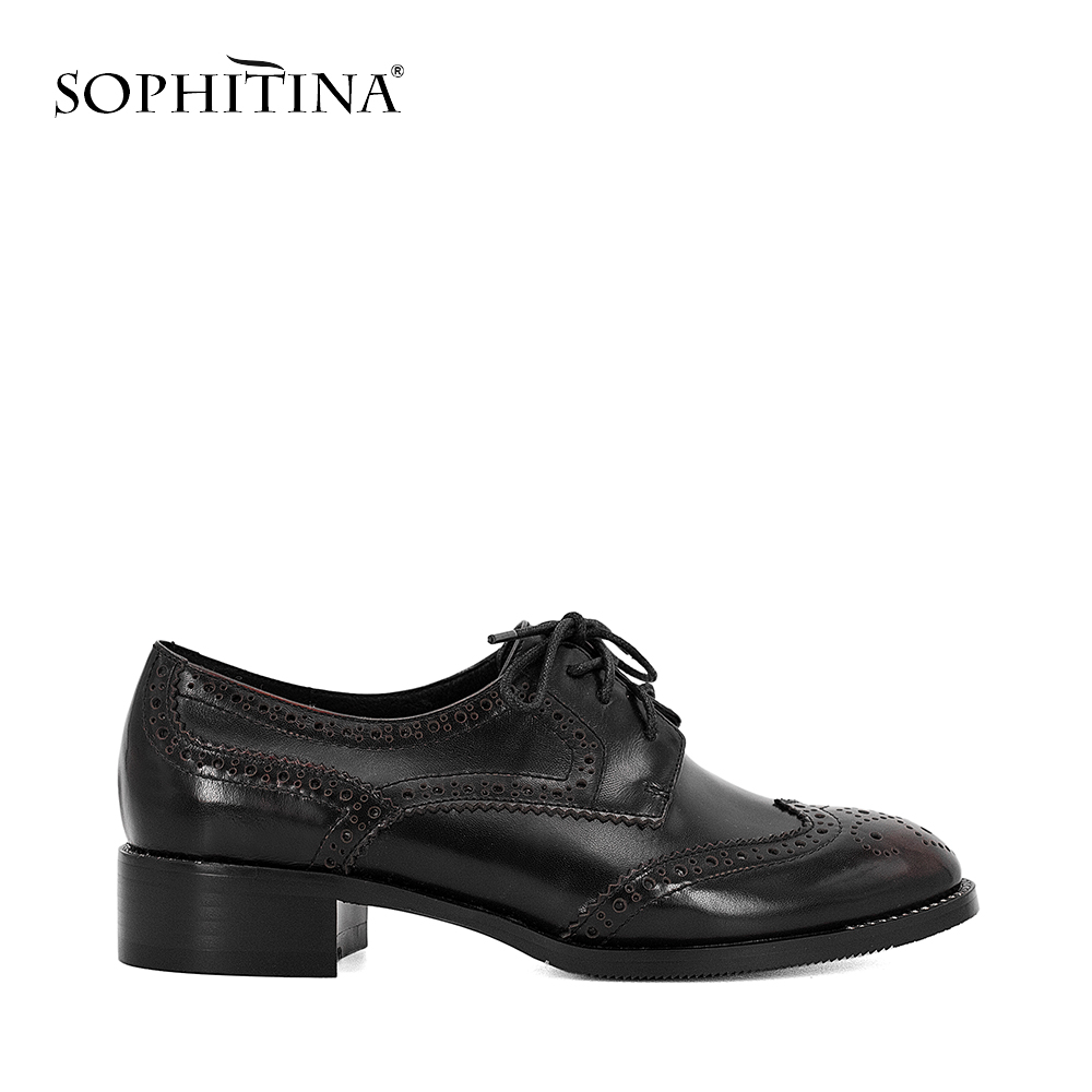 SOPHITINA Genuine Leather Pump Oxford Retro Square Heel Round Toe Lace up Shoes Solid Casual Office