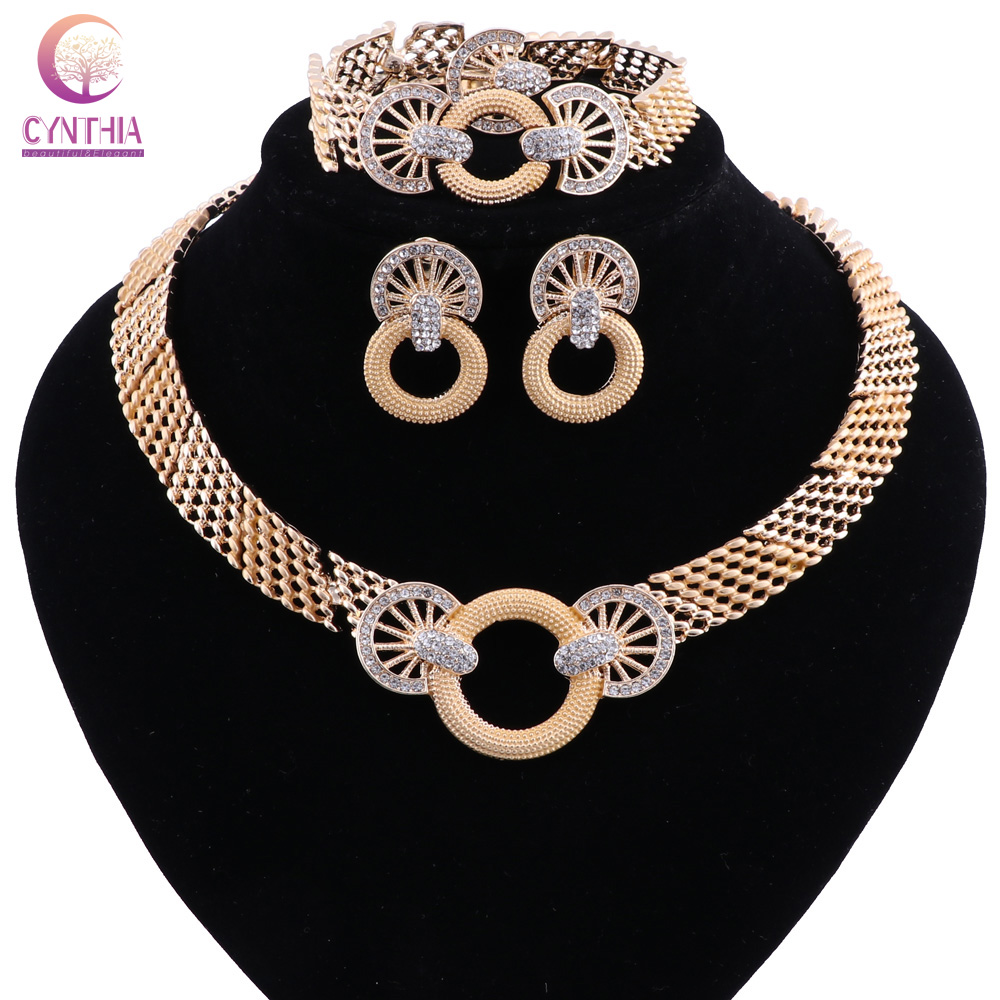 African Jewelry Sets Gold Color Flower Shape Crystal Necklace Earrings Sets Fashion Wedding Elegant Costume Jewelry Set