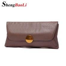 Shengbaoli Genuine Leather Women Party Day Clutches Shoulder Bag Women Handbag Fashion Clutch Purse Metal Chain Wallet