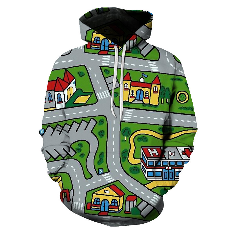 Large size Men Warm Anime Game Design Map of My Home Sweatshirt 3D Printed Men's Hoodie Hot Sale Casual Clothes S-6XL