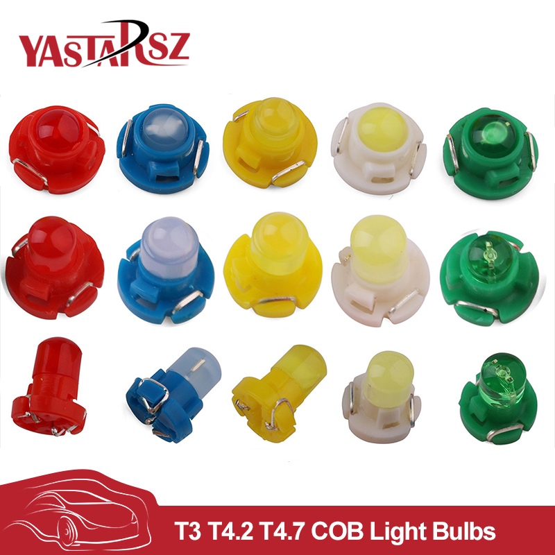 YASTARSZ Car Led 10x T3 T4 2 T4 7 COB Dashboard Warning Indicator Light Bulbs Warning