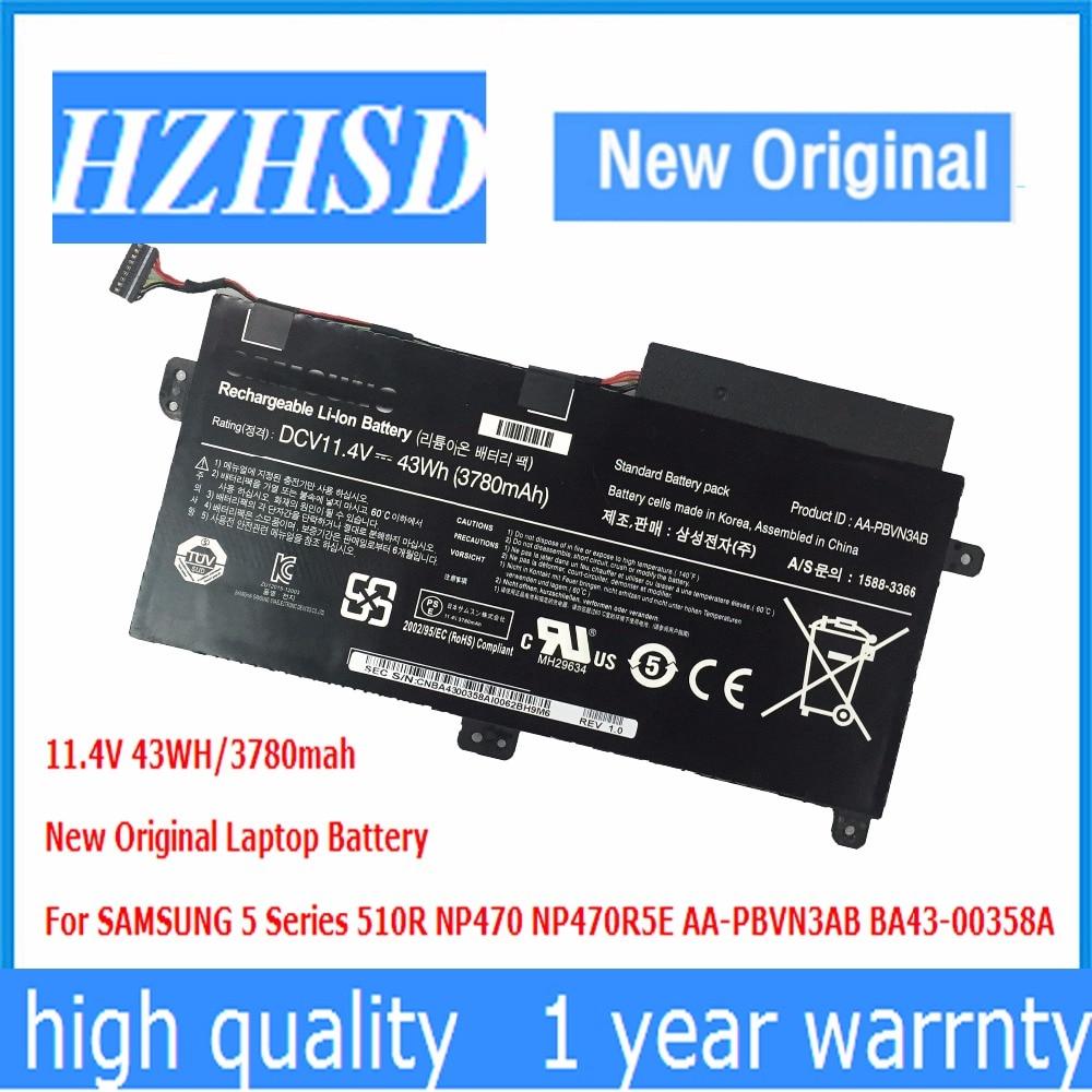11.4V 43WH New Original AA-PBVN3AB Laptop Battery For SAMSUNG 5 Series 510R NP470 NP470R5E BA43-00358A