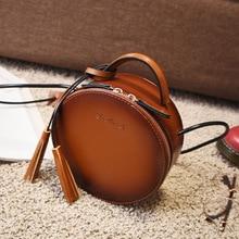 цена на Women Bag Female Handbags Leather Shoulder Bag Crossbody Famous Brand Tote Handbag Round red Cute Small Fashion Bags with tassel