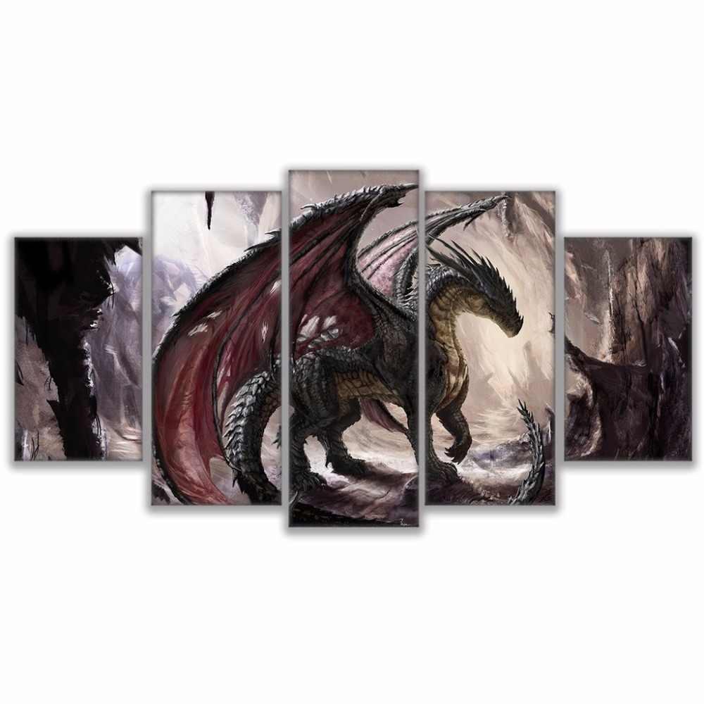 TYG-ديكور فني للمنزل جدار الفن الغربي التنين قماش لوحات HD طباعة لغرفة المعيشة الحديثة إطار ديكور عمل فني 5 قطع