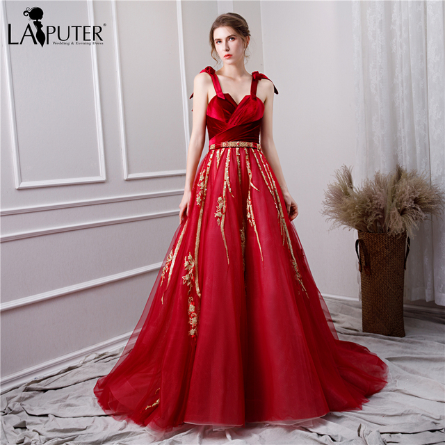 888eb09674 US $289.0 |LAIPUTER 2019 Sparkle Evening Dress Long A line Straps Pearls  Red Velvet and Tulle Prom Dress for woman-in Evening Dresses from Weddings  & ...