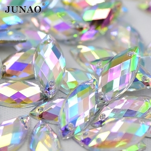 JUNAO 5*10mm Sew On Clear AB Horse Eye Rhinestone Flatback Crystal Stones Fancy Acrylic Gems Sewing Strass Applique for Clothes