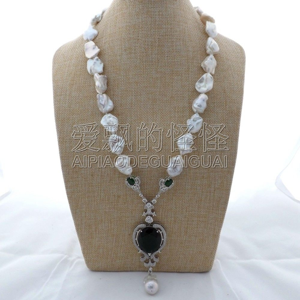 "N121007 25"" White Keshi Pearl Necklace CZ Pendant"