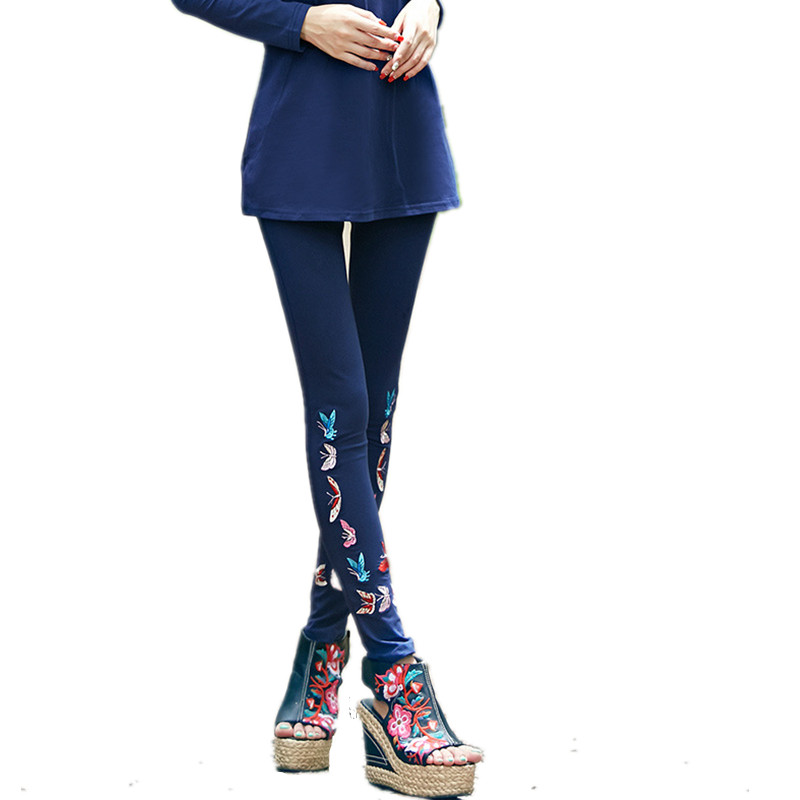 5061994262 Autumn Spring New Fashion Large Size Butterfly Embroidery Legging Women  Boot Capris Casual Plus Size Long Leg-in Leggings from Women s Clothing    ...