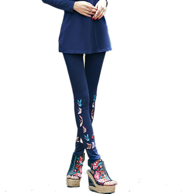 Autumn Spring New Fashion Large Size Butterfly Embroidery Legging Women Boot Capris Casual Plus Size Long Leg
