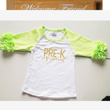 lime green icing t-shirts for girls children pre-K shirts  kindergarten girls t-shirts raglan icing shirts for kindergarten