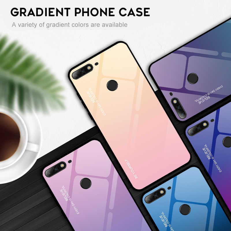 Gradient Tempered Glass Cases For Huawei Honor 7A 7C Y7 Pro 2019 Y9 P Smart 2019 Plus Y5 Y6 Y7 Prime 2018 Protective Cover Coque