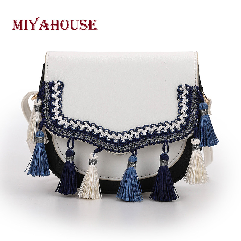 Miyahouse Fashion Leather Saddle Shoulder Bag Women PU Leather Female Messenger Bag With Tassel Crossbody Bag Lady aetoo new leather diagonal female bag korean fashion tassel lady bag leather shoulder messenger bag