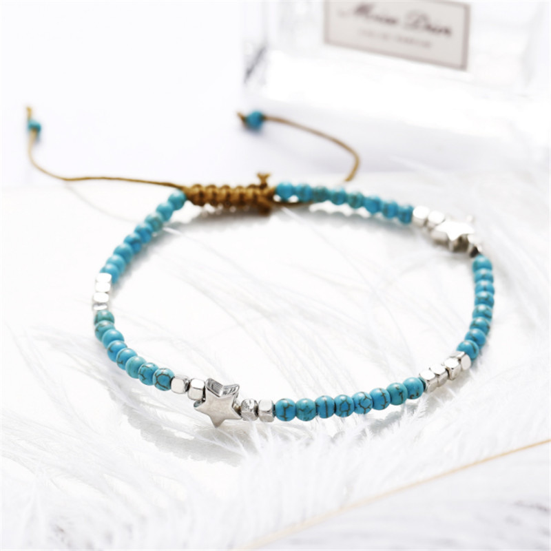 Bohemia Stars Natural Stone Pentagram Anklet For Women Cotton Tape Bracelet on the Leg Strap Girls Summer Anklets Foot Jewelry in Anklets from Jewelry Accessories