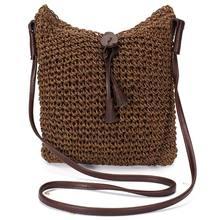 4081a7430d41a Kumaş çantalar Omuz Saman Yaz Kadın Kumaş Crossbody Çanta Tuval Jüt Plaj  Seyahat Çantası Kahverengi(