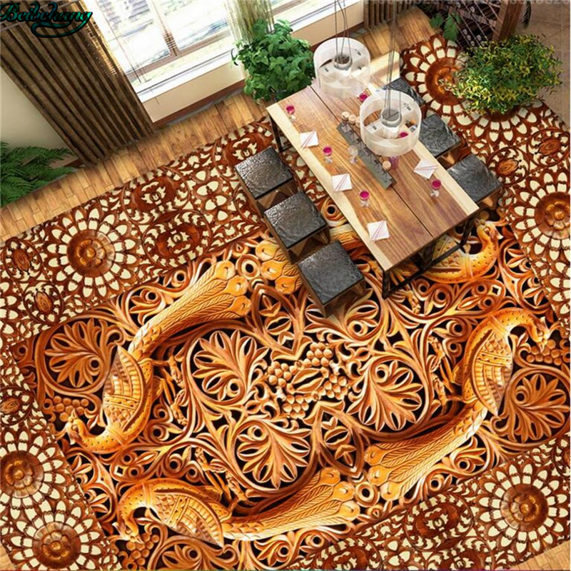 Beibehang Large Custom Flooring Chinese Wood Carving Phoenix 3D Stereo Floor  Fine Decoration(China (