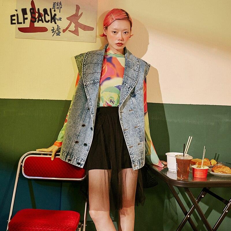 ELF worek w stylu Vintage Denim płaszcz 2019 jesień moda bez rękawów kobiety kurtka koreański Streetwear Casual kobiet kurtki w Podstawowe kurtki od Odzież damska na  Grupa 1