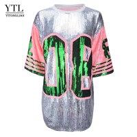 Women Tops Summer Glitter Uniforms Tunic Bling Loose Tee Sparkle T Shirt Fashion Sequined T Shirt Female Blusas H232