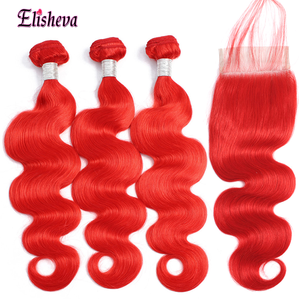 Red Bundles With Closure Colored Peruvian Body Wave Remy Human Hair 3 Bundles With Closure With