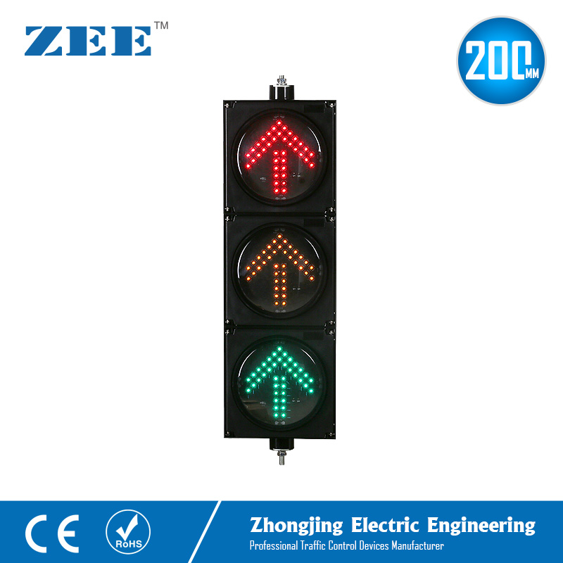 8inches 3x200mm LED Arrow Traffic Light Left Right Turn Up Arrow Traffic Signals 220V 12/24V Solar Traffic Signal Lights