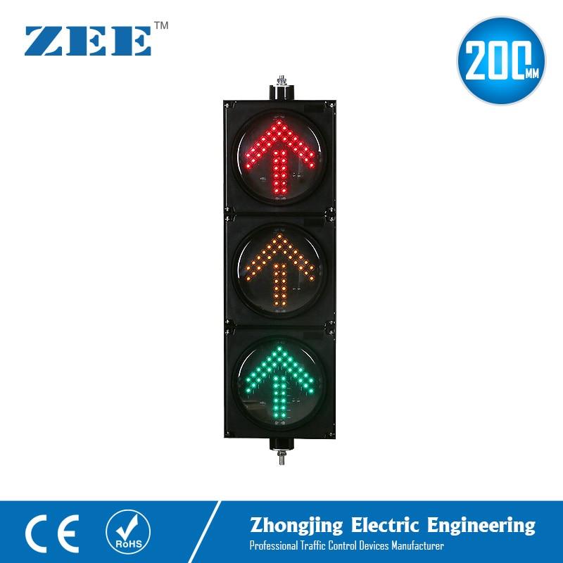 8inches 3x200mm LED Arrow Traffic Light Left Right Turn Up Arrow Traffic Signals 220V 12/24V Solar Traffic Signal Lights
