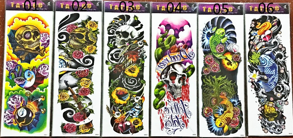 17 new fashion 48 X 15CM cool body art waterproof men and women temporary Full arm tattoo (6 design) stickers for boys girls 1