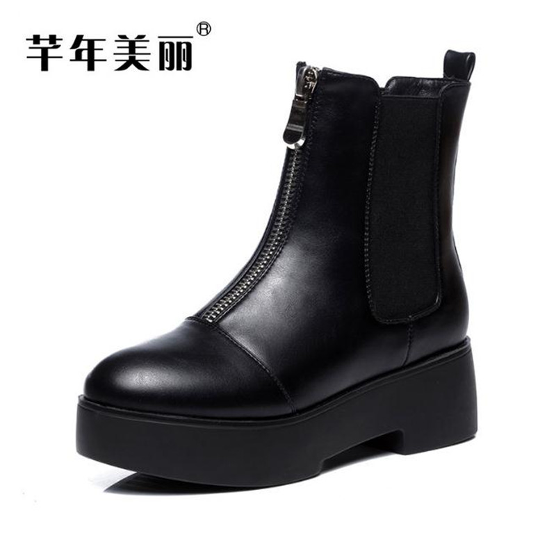 2017 Spring and Autumn new flat boots Round head thick bottom women boots frosted leather Martin boots bottes boty obuv short boots woman the fall of 2017 a new restoring ancient ways british wind thick boots bottom students with martin boots