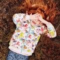 Nuevo 2016 Moda Invierno Cálido Niñas prendas de Vestir Exteriores de Cremallera-up Niños Abrigos Tops Imprimir Carácter Caballo Colorido del bebé ropa