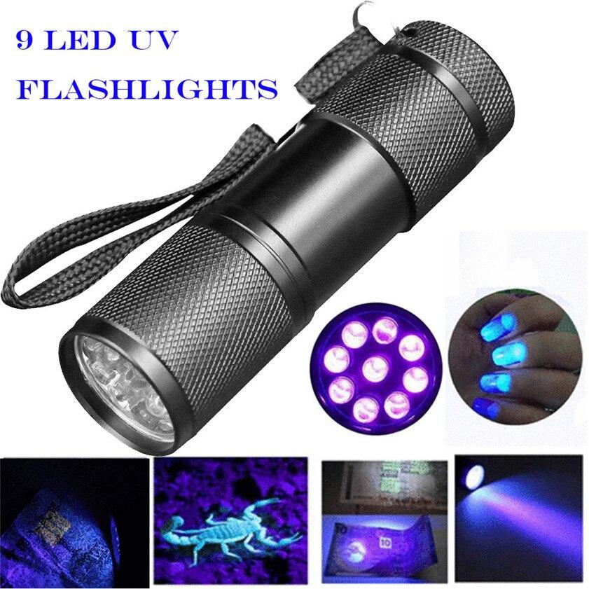 High Quality Blacklight Detection 9 LED UV Ultra Violet Mini Flashlight Torch Light Lamp