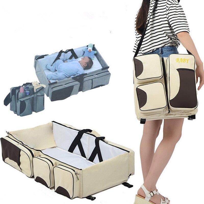 Baby Krippe Cas Mummy Messenger Tasche Faltbare Outdoor 3 In 1 Windel Tasche Baby Travel Bassinet & Amp Tragbare Windel ändern Station