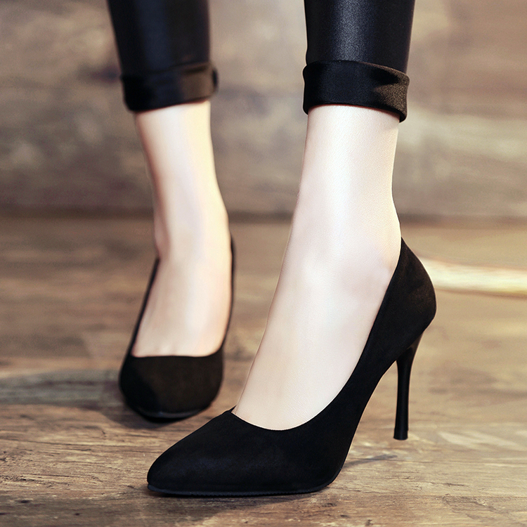 big size fashion scarpe donna tacco alto sexy flock ankle wrap zapatos mujer chaussure femme women high heel women shoes sandals women high heel shoes zapatos wedding sexy female suede shoes mujer Club pumps chaussure shoes femme  OL career business stile