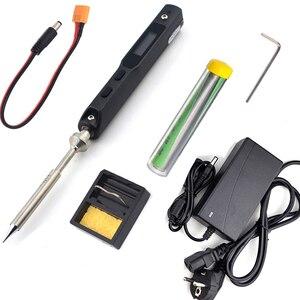 TS100 65W Mini elektryczna stacja lutownicza zestaw cyfrowy wyświetlacz OLED regulowana temperatura z B2 końcówka lutownicza zasilacz