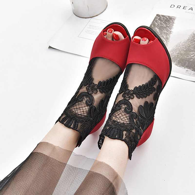 Puimentiua Summer High Heels Sandals Women Mesh Peep Toe Sandals Sexy Heels Single Shoes Woman Ladies 2018 Spring And Summer