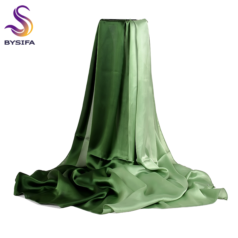 [BYSIFA] Long Satin Silk Scarf Winter Ladies Gradient Green Scarf Shawl Top Grade Brand Scarves Simple Plain Head Scarf 180*90cm