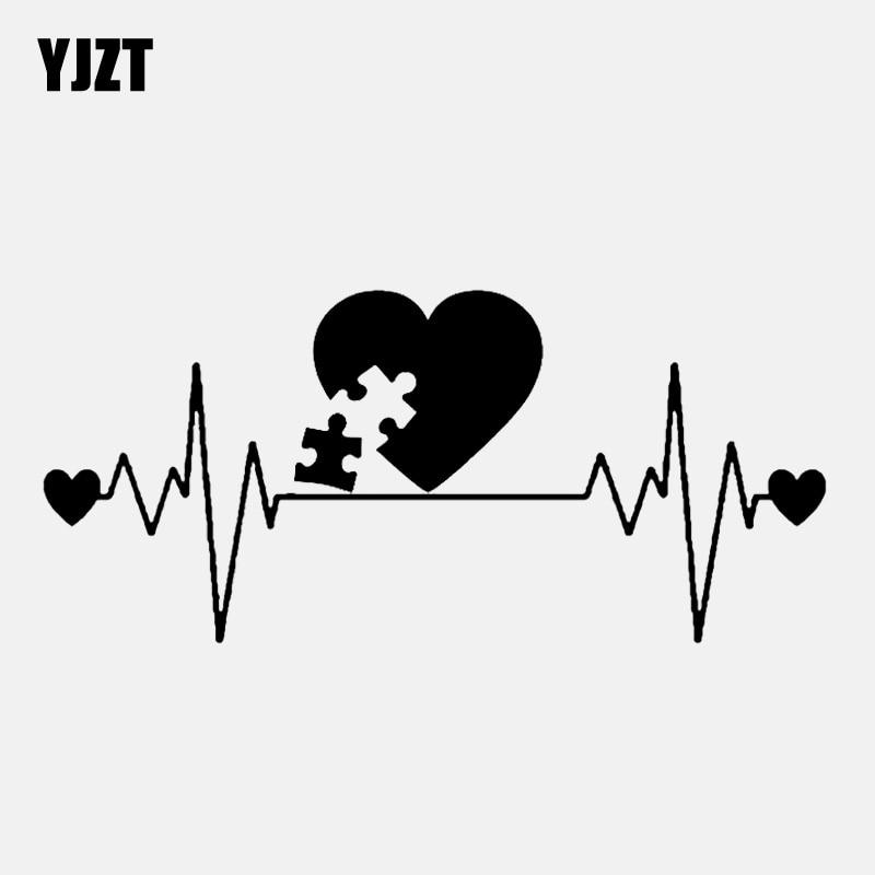 YJZT 14.7CM*6.8CM Autism Lifeline Heartbeat Decal Vinyl Black/Silver Car Sticker C22-1020