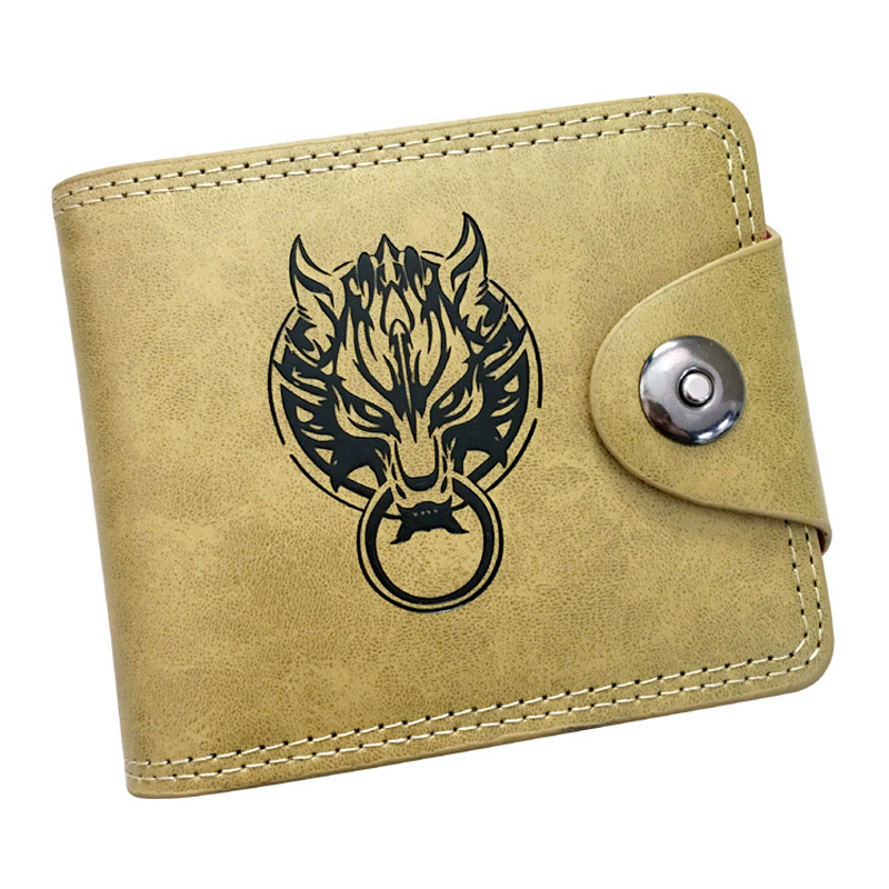 Final Fantasy of Wolf Head Logo Anime Coin Purse Card and Photo Holder Short Wallet PU Leather Boys and Girls Gift Money Bag japanese anime game final fantasy cloud strife wolf totem pu short wallet purse colorful printing