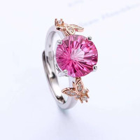 925 silver plated 18k gold inlaid natural topaz ring