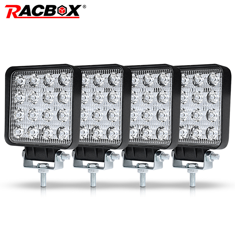RACBOX 4 inch 48W Square LED Work Light High Power Spotlight Floodlight For 4x4 Offroad ATV