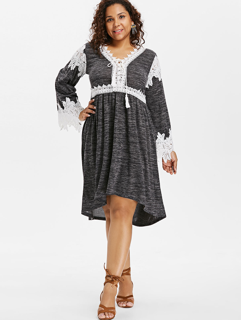 e995f3d45ddb7 PlusMiss Plus Size Vintage Loose Lace Crochet Dress 5XL XXXXL XXXL XXL Women  Bell Flare Sleeve Retro Dresses Autumn Big Size