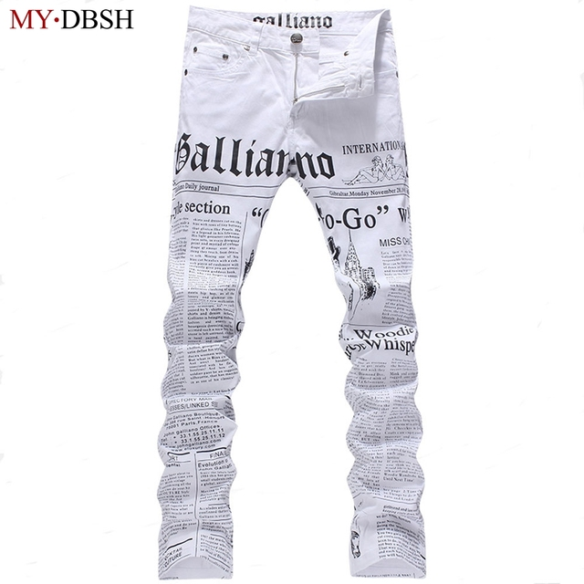 Hot Sale Men's John Males Galliano Top Quality Punk Rock Nightclub DS DJ Newspaper printed pattern Slim Jeans Motorcycle Jeans