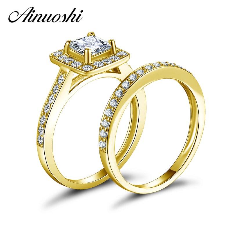 AINUOSHI 10K Solid Yellow Gold Halo Wedding Ring Set Princess Cut Simulated Diamond Proposal Bands Women Anniversary Bridal Sets