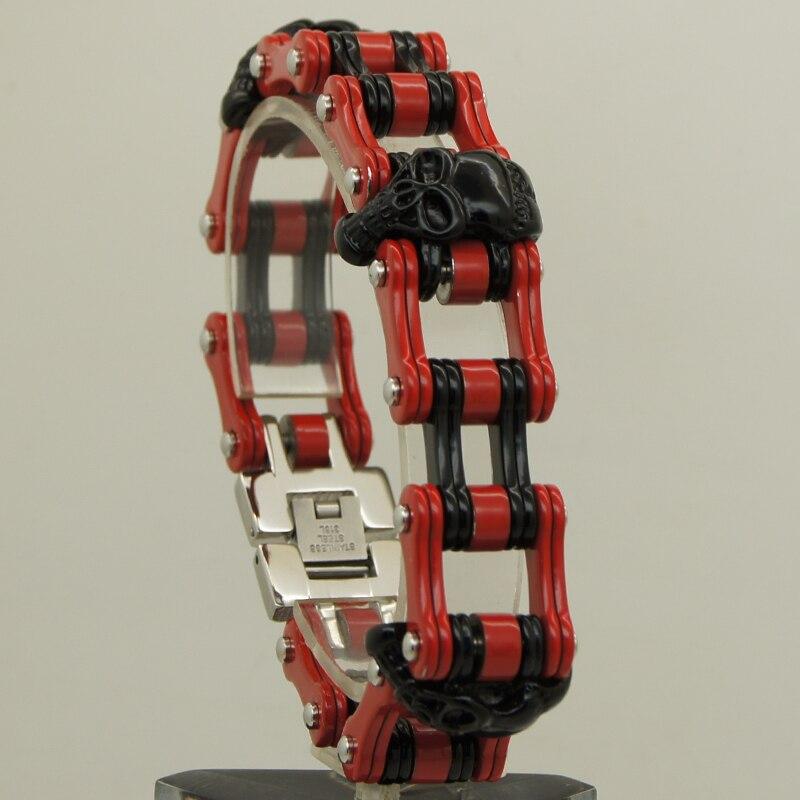 Bracelet à chaîne unique en acier inoxydable 316L plaqué rouge et noir pour hommes/garçons